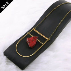 Large Shield Necklace - Red