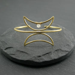Twin Moon Cuff - Moonstone