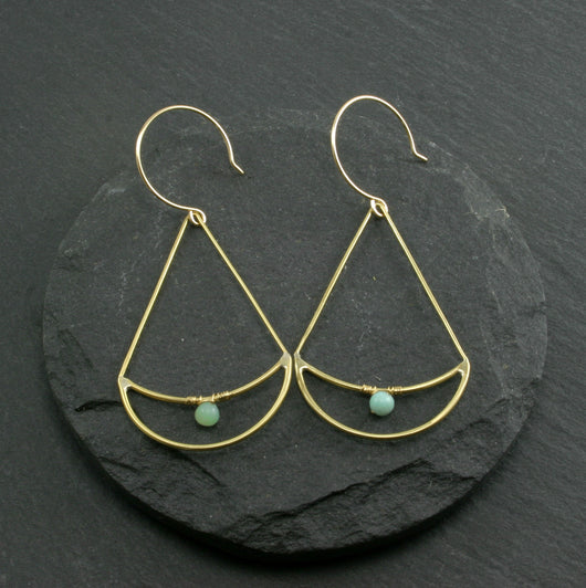 Twin Moon Earrings - Amazonite