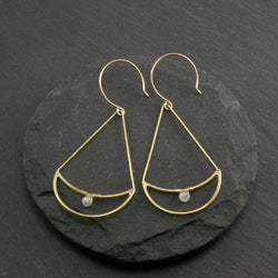 Twin Moon Earrings - Moonstone