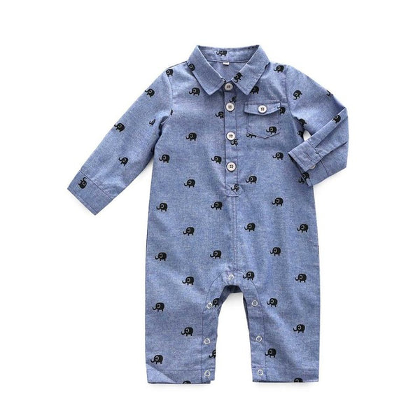 Denim Elephant Romper