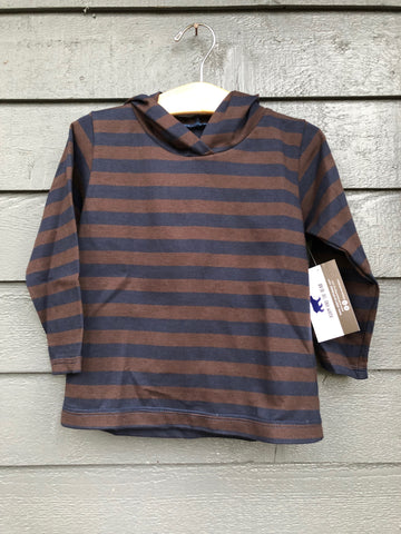 Brown and Navy Striped Hoodie- Size XS (3/4)