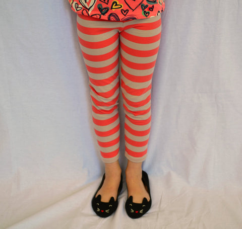 Coral and Tan Striped Leggings