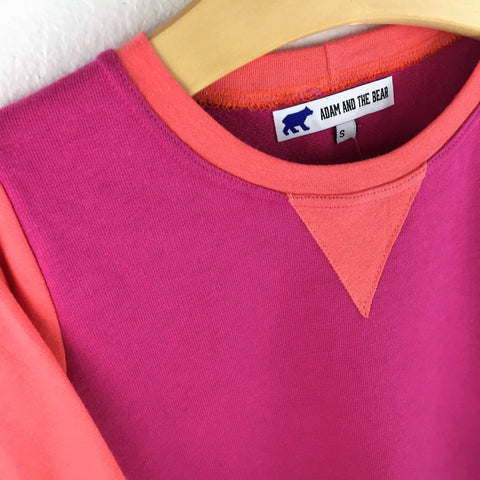 Fuschia Pink and Coral Slim Fit Sweatshirt