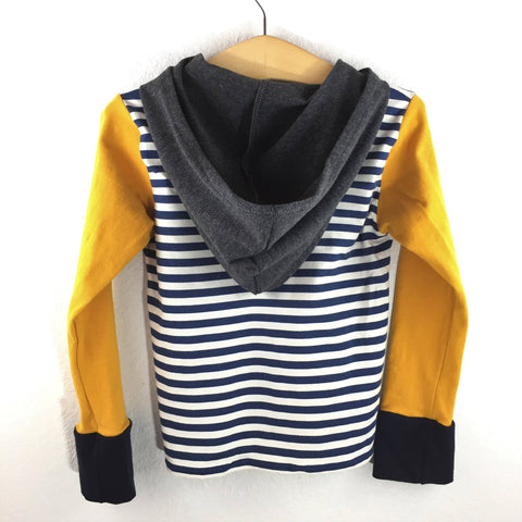 Long Sleeve T-Shirt Hoodie- Navy, Ivory and Mustard Yellow- Size XL (12 Slim)