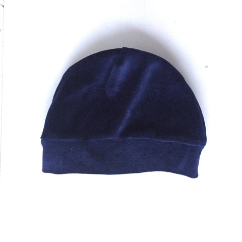 Navy Velvet Beanie- Baby, Kid and Large Sizes