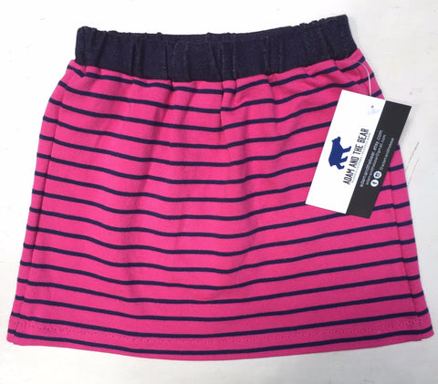 Fuchsia and Navy Striped Skirt