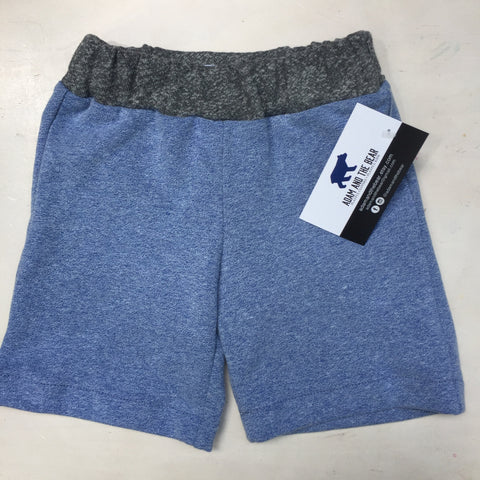 Blue French Terry Knee Length Shorts