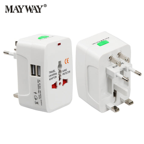 Universal Worldwide Travel Adapter / Plug Converter with USB Ports / Wall Type for EU UK US AU