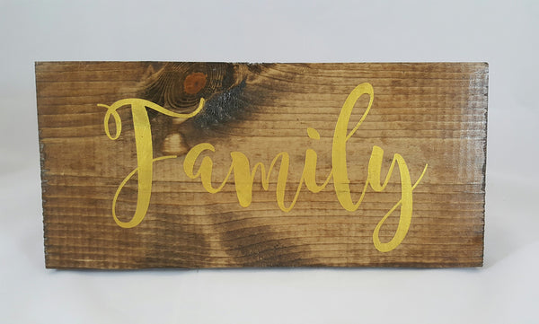 Family ~ Hand-Painted Wood Sign