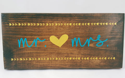 Mr. and Mrs. ~ Hand-Painted Wood Sign