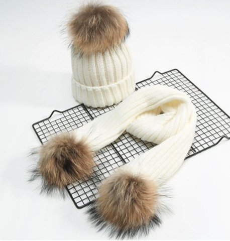 7bee1b13e7b PomPom Hat and Scarf Set - Dukes and Darlings