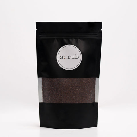 Chocolate Body Scrub in Black Resealable Bag