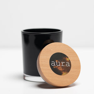 Soy candle black tumbler wooden lid
