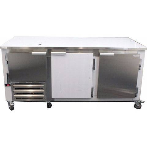 "Coolman 72"" Commercial 2-1/2 Door Low Boy Worktop Refrigerator - Coolman Refrigeration Inc."