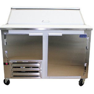 "Coolman 60"" Commerical 1-1/2 Door Refrigerated Sandwich Prep Unit Side Motor - Coolman Refrigeration Inc."