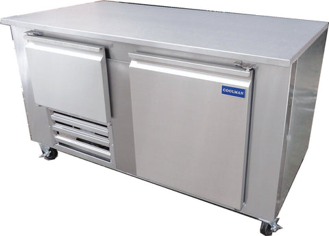 "Coolman 60"" Commercial 1 1/2-Door Low Boy Worktop Freezer - Coolman Refrigeration Inc."