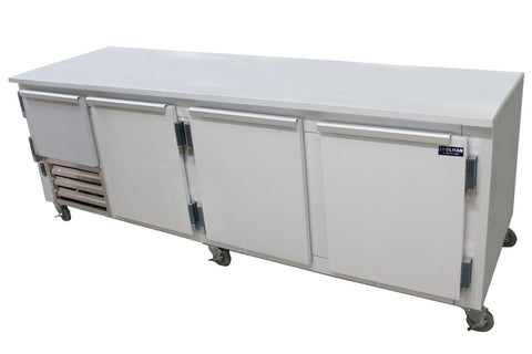 "Coolman 96"" Commercial 3 1/2-Door Low Boy Worktop Freezer - Coolman Refrigeration Inc."