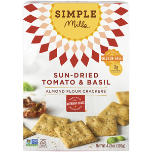 ALMOND FLOUR CRACKERS 120G SUN-DRIED TOMATO & BASIL