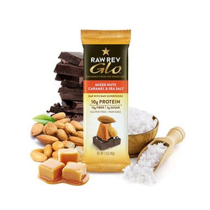 MIXED NUTS, CARAMEL AND SEA SALT GLO BAR
