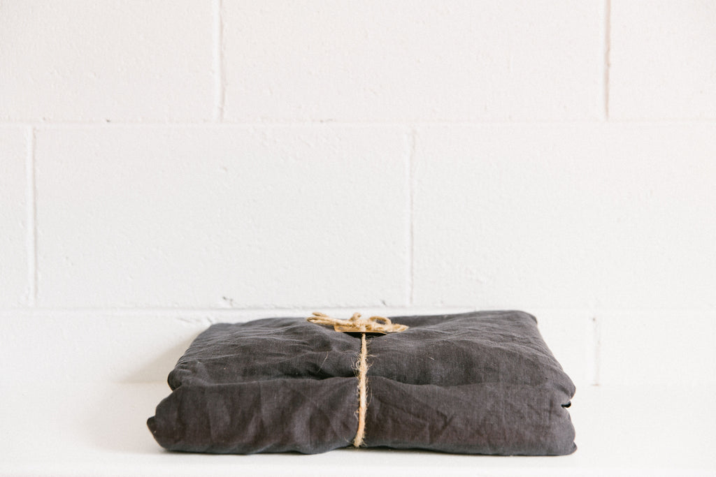 French Linen Fitted Sheet ~ Charcoal