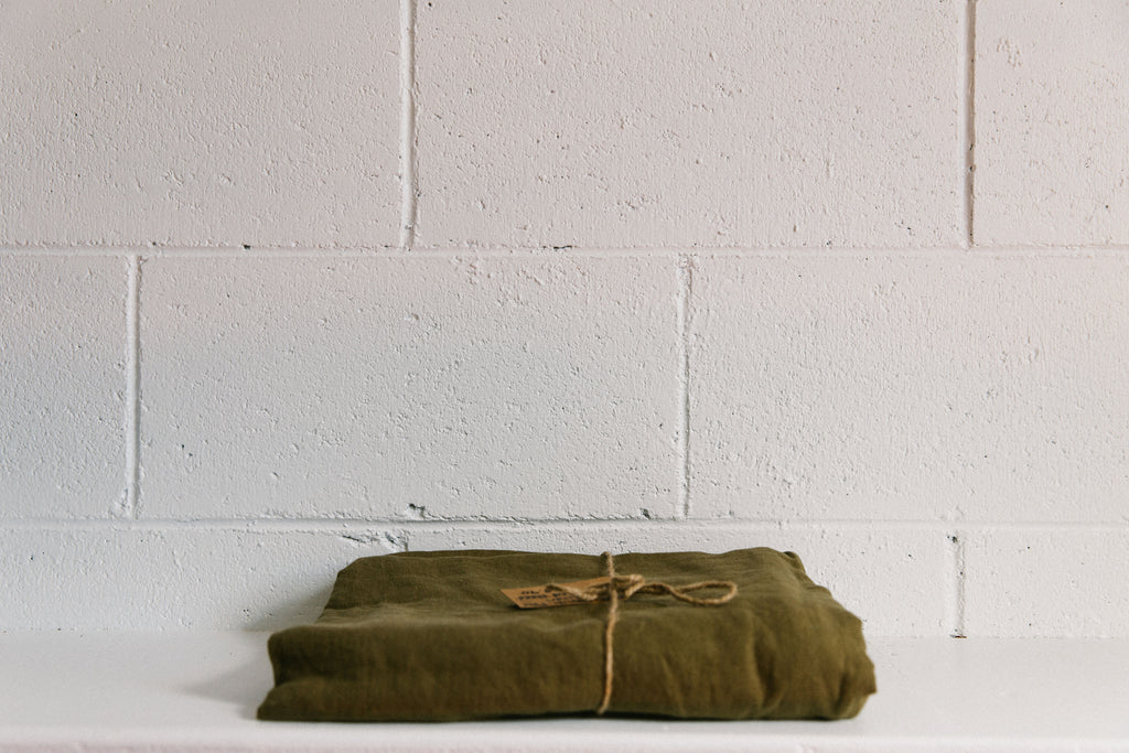 French Linen Flat Sheet ~ Olive