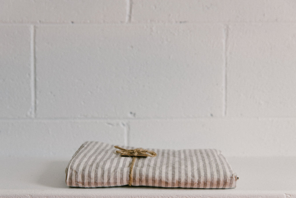 French Linen Fitted Sheet ~ Grey Stripes