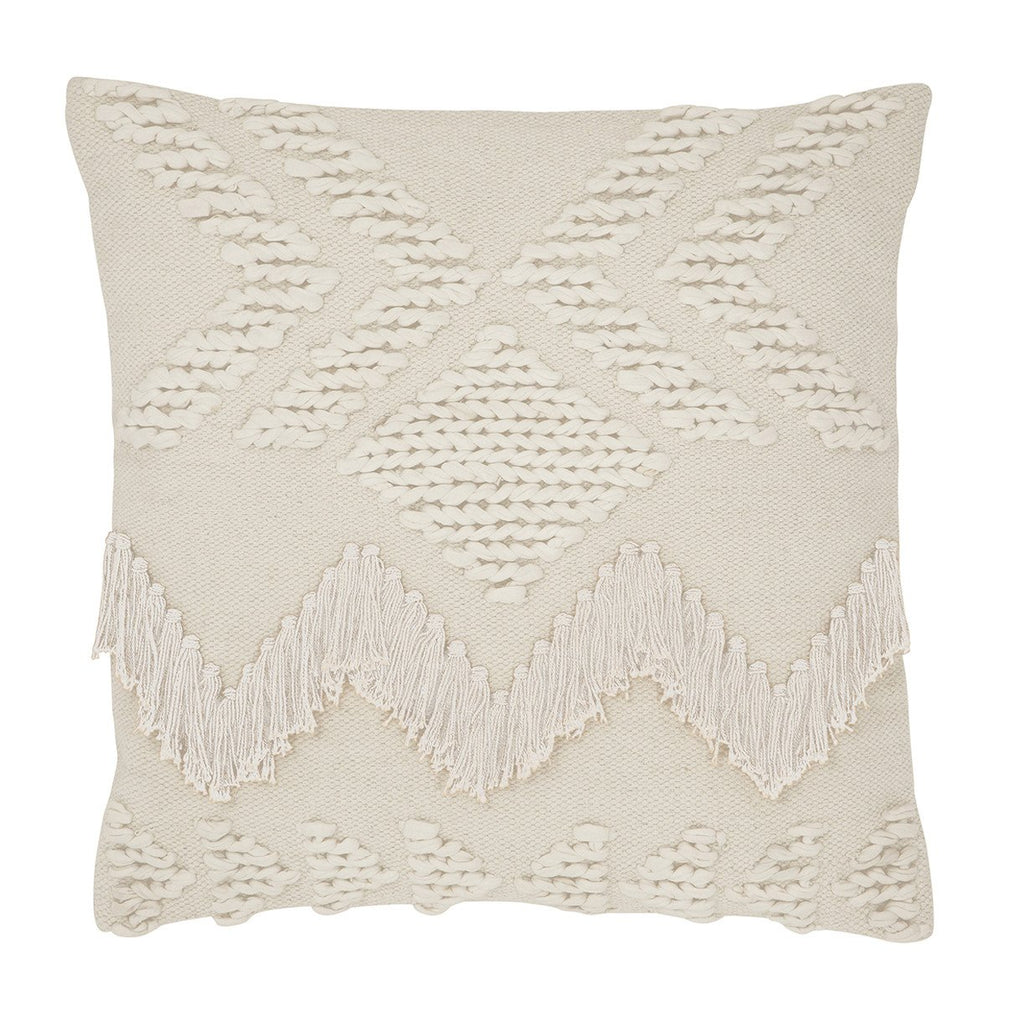Fringe Cushion- White