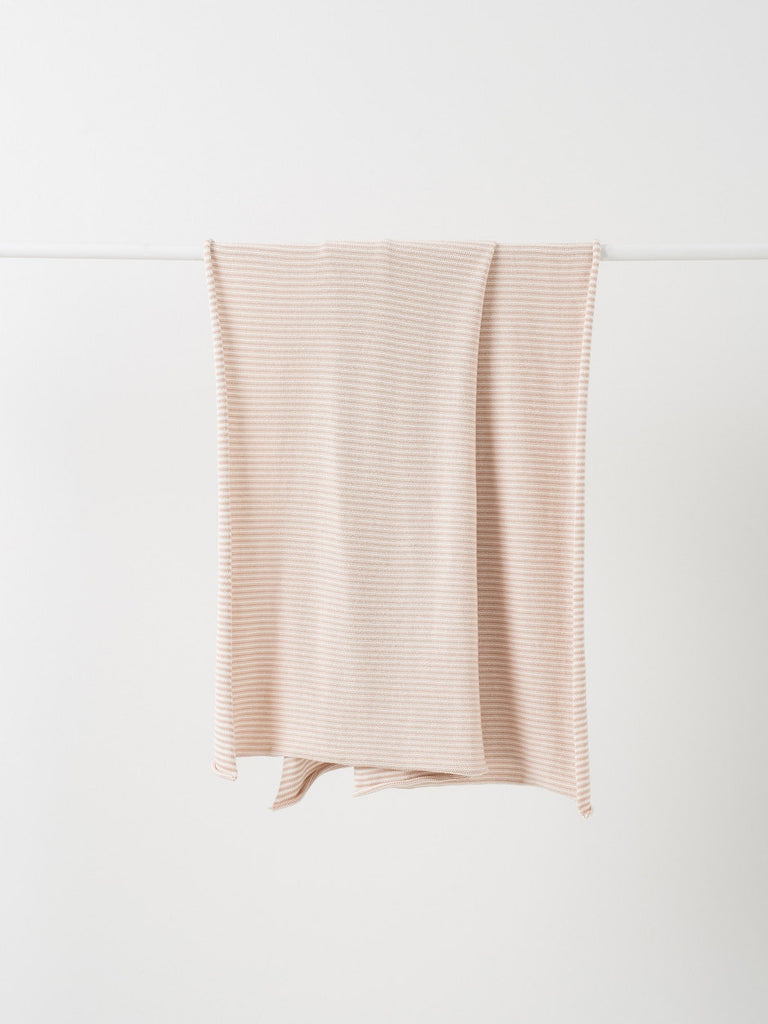 Pinstripe Cotton Knit Cot Blanket ~ Almond/Chalk