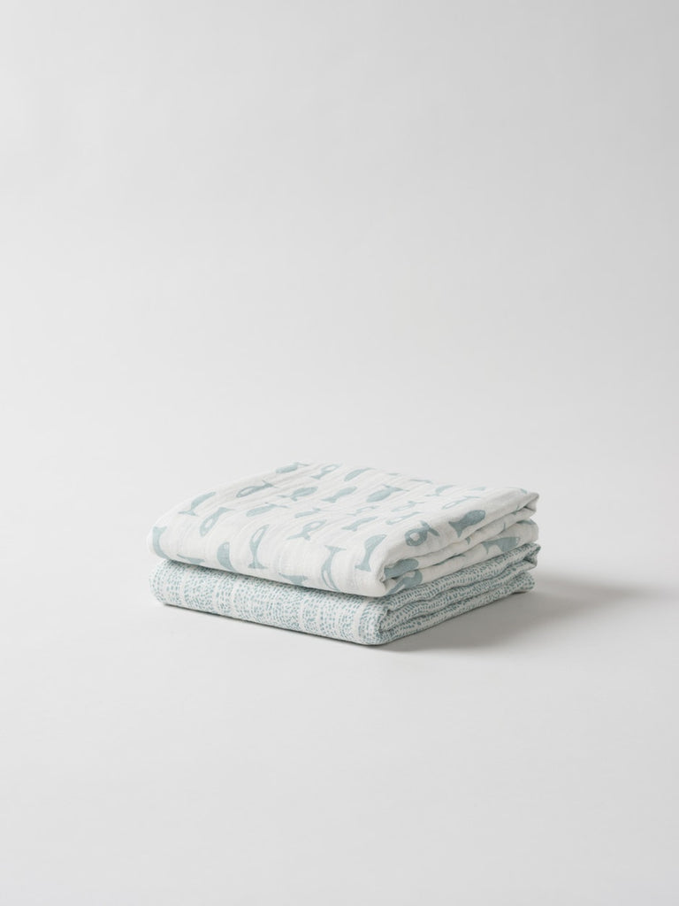 Organic Cotton Muslin Wrap 2 pack ~ Under The Sea