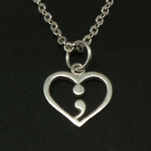 Load image into Gallery viewer, Silver Heart Semicolon Necklace