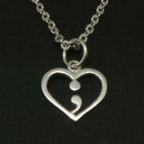 Silver Heart Semicolon Necklace