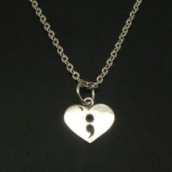 Silver Semicolon Heart Necklace