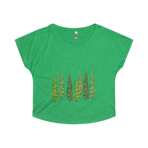 Pine Tree Women Tri-Blend Dolman Shirt