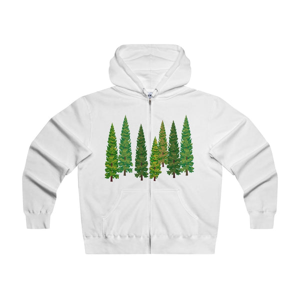Pine Tree Lightweight Zip Hooded Men Sweatshirt