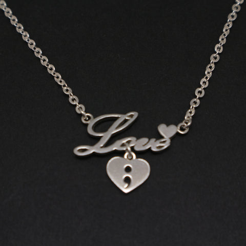 Love Dangle Heart Semicolon Necklace