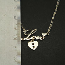 Load image into Gallery viewer, Love Dangle Heart Semicolon Necklace
