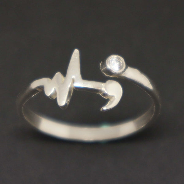 Silver Heartbeat Semicolon Ring