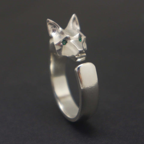Silver Wolf Head Ring