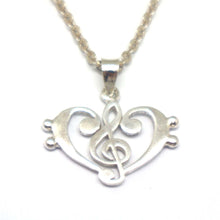 Load image into Gallery viewer, Treble Clef Bass Clef Music Heart Necklace