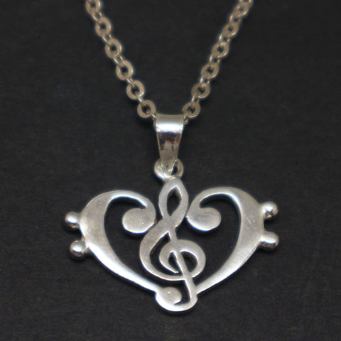 Treble Clef Bass Clef Music Heart Necklace