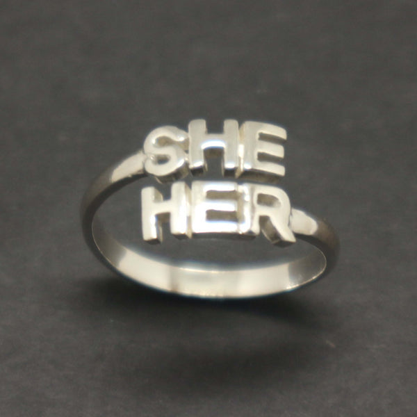 She and Her Gender Pronouns Ring