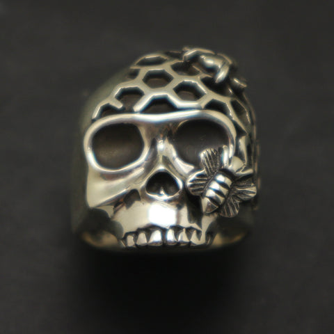 Skull and Honeycomb Bee Ring
