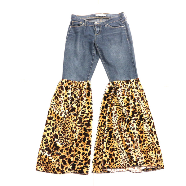 Custom Leopard Bell Bottom Jeans Pant