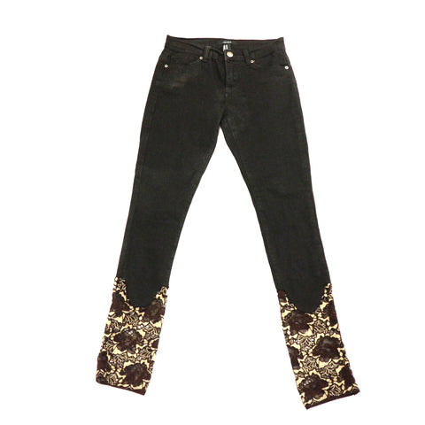 Custom Jeans Pant with BrownFloral Flower