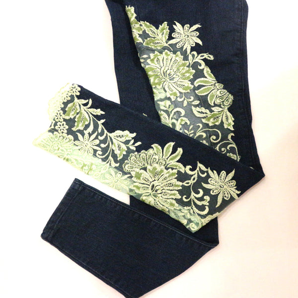 Custom Jeans Pant with Victorian Lace