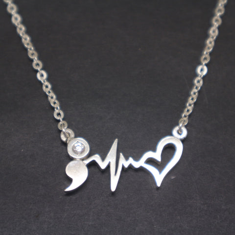 Semicolon Heartbeat Necklace
