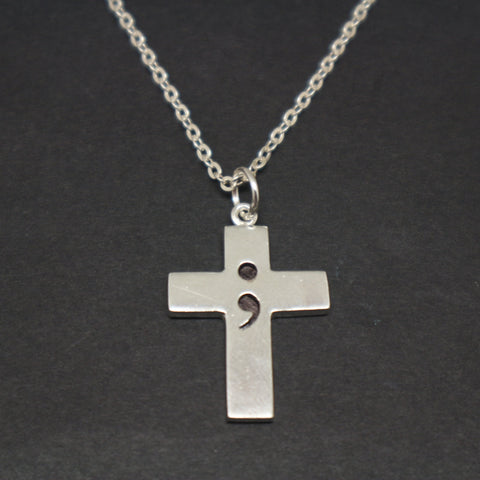 Semicolon Cross Necklace
