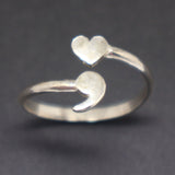 Heart Semicolon Ring Sterling Silver