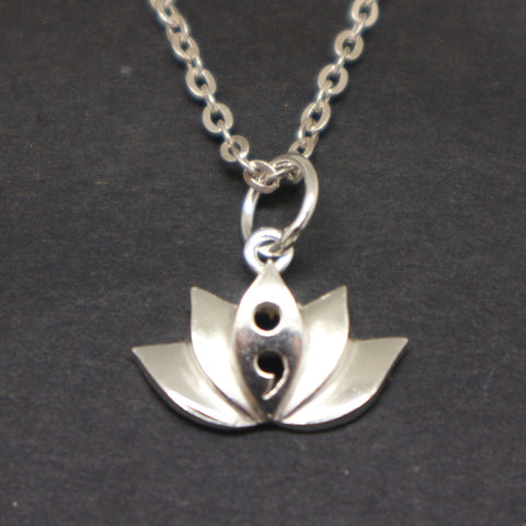 semicolon lotus necklace